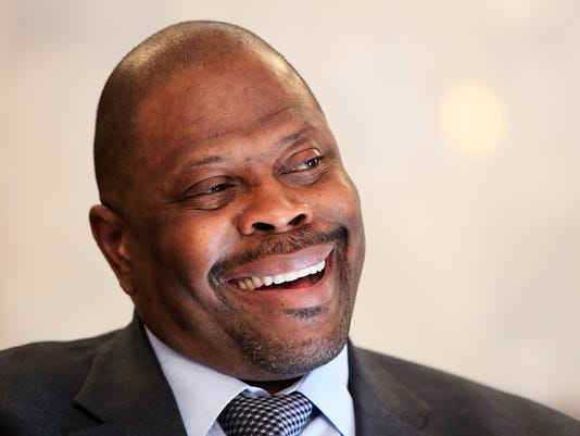 Georgetown University basketball head coach Patrick Ewing speaks to a reporter as he is interviewed at Georgetown University, in Washington, Tuesday, Oct. 31, 2017. Now that he's the coach, Patrick Ewing wants to figure out a way to return Georgetown basketball to the good ol' days.  (AP Photo/Manuel Balce Ceneta)