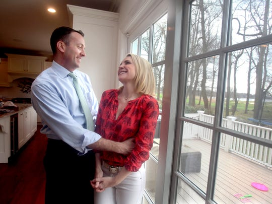 Andrea Canning, a correspondent for NBC News, with her husband Tony Bancroft, photographed in their Rye home April 7, 2017.