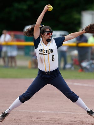 Victor's Katie Sidare pitches during Saturday's class Class AA final game versus Ballston Spa at the NYSPHSAA Softball Championships in Ganesvoort on June 9, 2018.