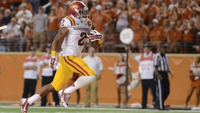 Iowa State Cyclones running back Aaron Wimberly (2) scores a touchdown against Texas Longhorns during the second half at Darrell K Royal-Texas Memorial Stadium.