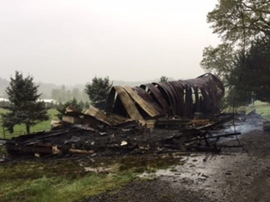 "Thursday's late-evening lightning storm is the ""most likely"" trigger that sparked a fire that destroyed a rural Aumsville/Turner barn."