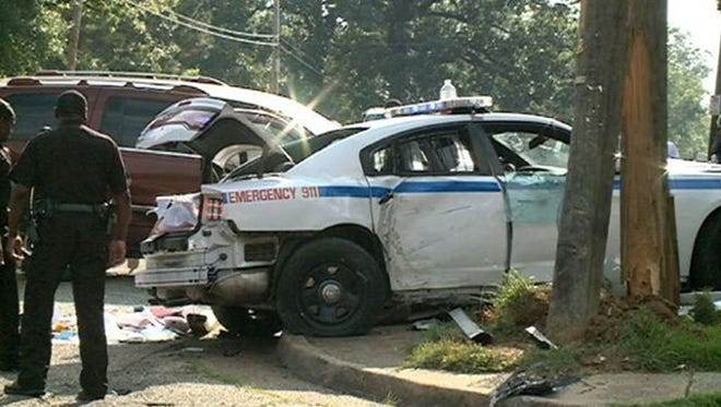 A Jackson police officer is injured in an accident.