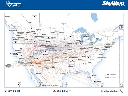 A route map shows some of the flight connections available