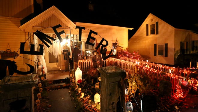 A house on Grant Street on Wausau's near east side is decorated for Halloween, Tuesday, October 21, 2014.