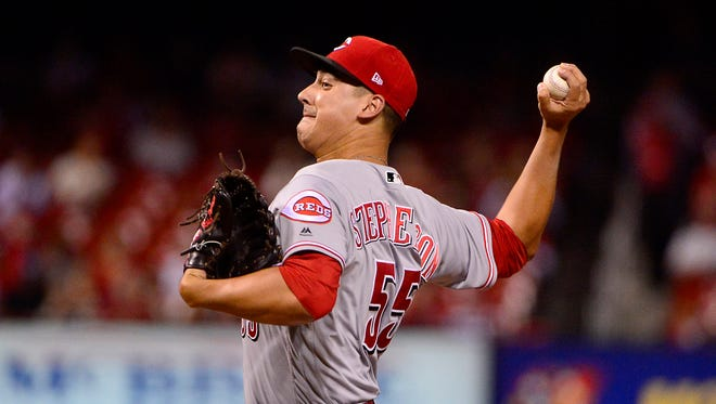 Cincinnati Reds pitcher Robert Stephenson (55) pitches during the first inning against the St. Louis Cardinals at Busch Stadium