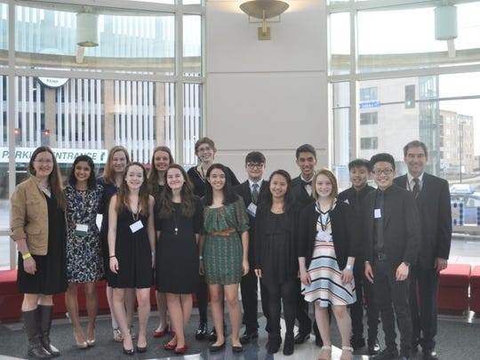 Pictured, from left, are Wausau West Key Club adviser Monica Borreson, club members Anusha Naik, Kara Nyhus, Kiara Pratt, Olivia Lemke, Sonya Barchugova, Johanna Michlig, Anjali Dvorak, Benji Rauen, Diane Le, Josh Dvorak, Grace Schuler, Damoon Her, Leng Yang and adviser Brad Smith. Not pictured is Shoua Bli Vang. It was an extra special weekend for Josh Dvorak, as he completed his year as district governor.