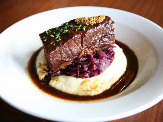 Pastrami cured Short Rib with caraway scented polenta, braised red cabbage and pickled mustard seeds, part of the Hudson Valley Restaurant Week menu at The Hudson House of Nyack.