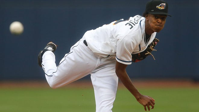 Pitching for the Akron Rubber Ducks, Triston McKenzie makes his home debut on June 12 of 2018 in Canal Park.
