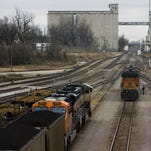 The BNSF rail yard just to the east of Kansas Expressway.