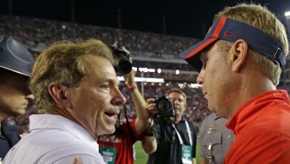 Alabama coach Nick Saban and Mississippi coach Hugh