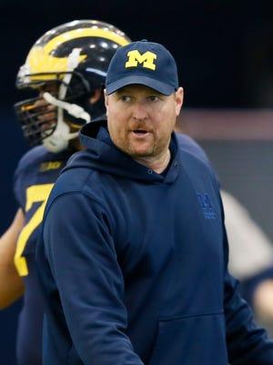 Michigan offensive coordinator and offensive line coach Tim Drevno.