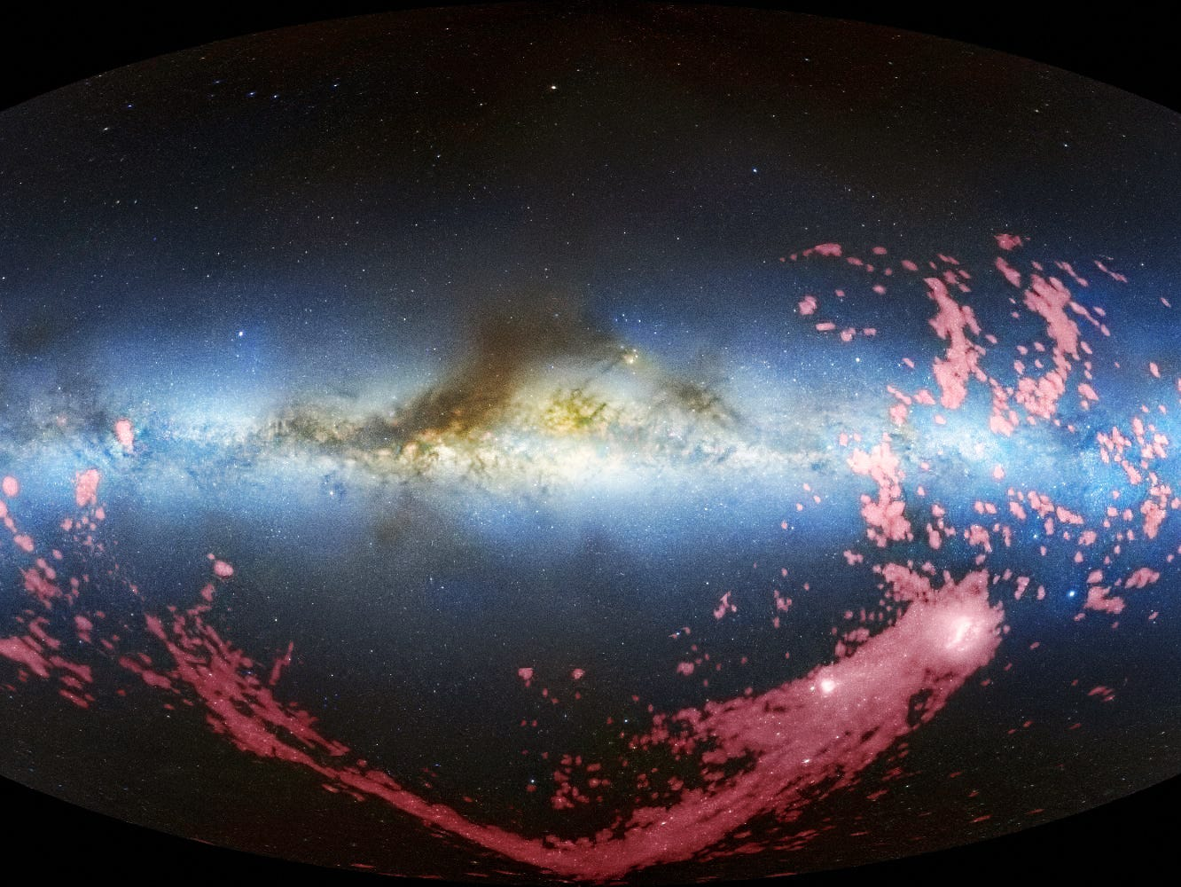A long ribbon of gas called the Magellanic Stream, which stretches nearly halfway around the Milky Way.
