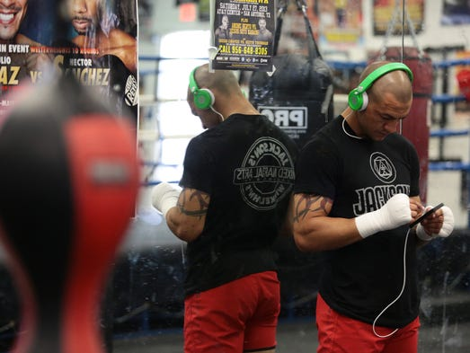 "UFC fighter ""Cub"" Swanson works out in the boxing gym at the Indio Boys & Girls Club on Wednesday, May 28, 2014. Swanson's next fight is a month away; he is scheduled to face Jeremy Stephens on June 28."