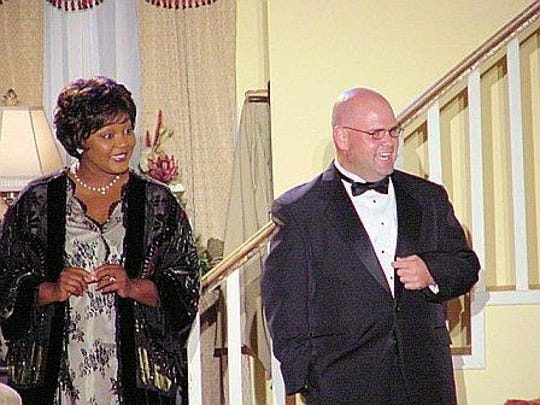 Rumors with Angelique Feaster and Michael Blake Powell in Shreveport Little Theatre's 88th season.