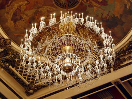 Music halls chandelier gets a cleaning music hall chandelier aloadofball Choice Image