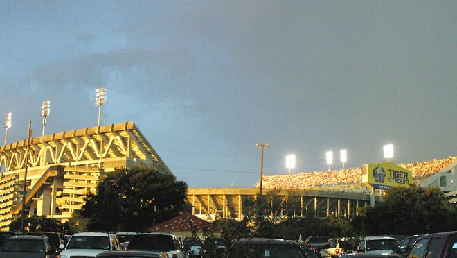 Tiger Stadium at LSU has a seating capacity of 102,321, but only 25 percent of that, which is 25,580, will be allowed in for the Tigers' season opener on Sept. 26 against Mississippi State due to COVID-19 precautions. The total attendance allowed could be increased as the season goes on.