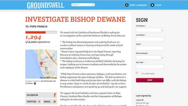 The Groundswell website petition asking for Pope Francis to investigate Bishop Dewane.