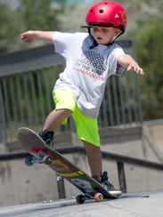 Treton Johnson competes in the annual skateboarding