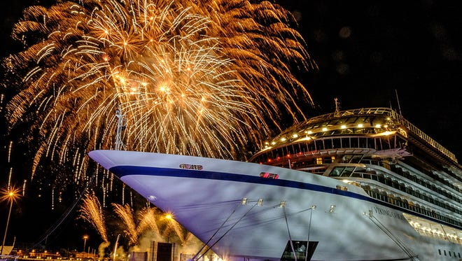 The christening ceremony for Viking Orion was capped with a fusillade of fireworks over the ship that could be seen from across Livorno.