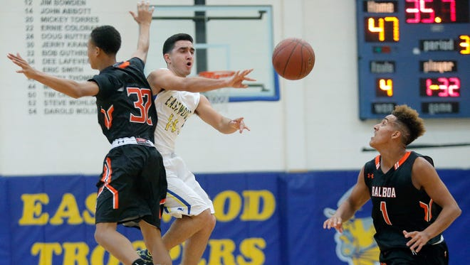 Eastwood's Carlos Guillen passes after being double teamed by Balboa City's Malcolm Little, left, and Cameo Hill during their game Friday in the McDonald's Classic Basketball Tournament at Eastwood High School.