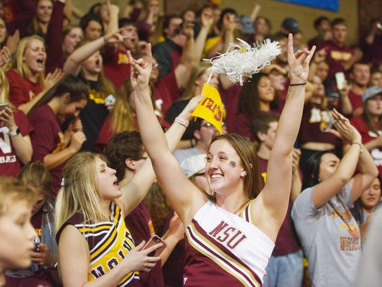 Northern State's student section cheers after their