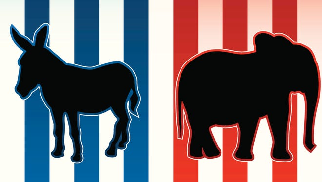 An illustration of a donkey and an elephant representing the Democratic and Republican parties in U.S. politics.