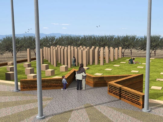A rendering of the proposed Chandler Veterans Memorial.
