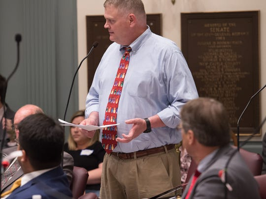Colin Bonini, R-Dover South during session in the senate chambers at Legislative Hall in Dover.