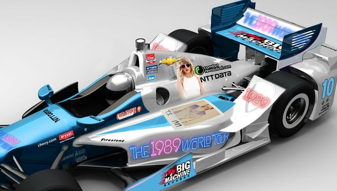 An image of Taylor Swift is seen on this preview image of Tony Kanaan's car.