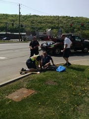 Responders worked to save ducklings from storm drain Sunday.