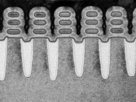 Pictured: a scan of IBM Research Alliance's 5nm transistor,
