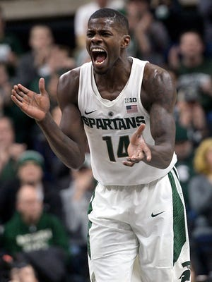 Spartans guard Eron Harris (14) reacts after hitting a three point field goal during the Big Ten basketball matchup between Rutgers and Michigan State at the Breslin Center Wed,  Jan. 4, 2017 in East Lansing.