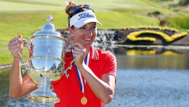 Brittany Lang celebrates winning the U.S. Women's Open.