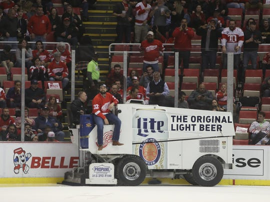 Detroit Tigers pitcher Michael Fulmer rides the Zamboni between periods of the Red Wings-Bruins game Wednesday, Jan. 18, 2017 at Joe Louis Arena.