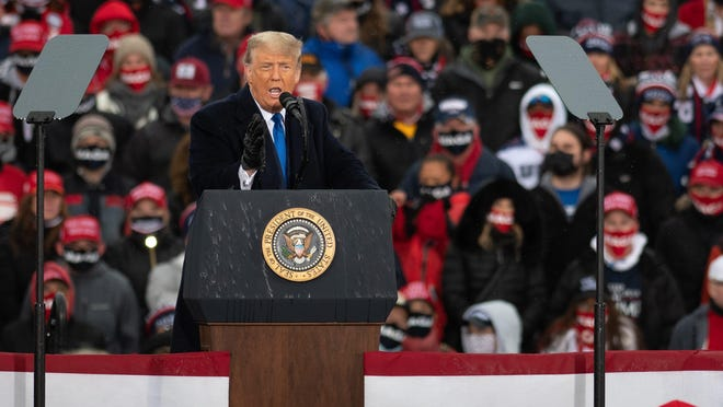 President Donald J. Trump campaigns Tuesday afternoon, Oct. 27, 2020, at Capital Region International Airport in Lansing, Mich., one week before the 2020 election.