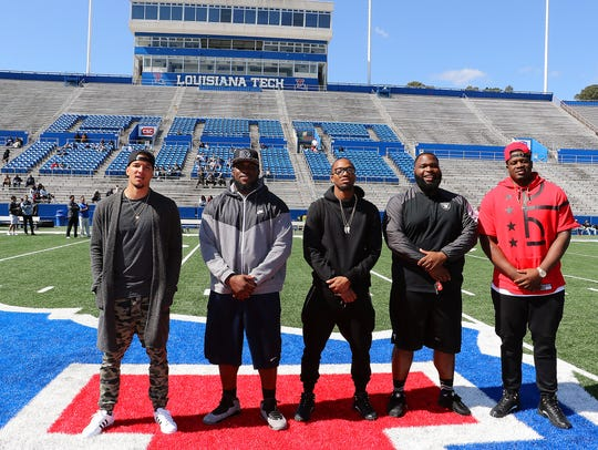 Former Louisiana Tech players, from left, Myles White,