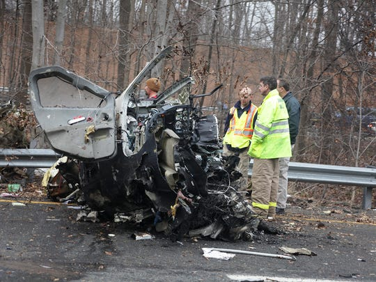 Morris Twp, New Jersey  Wreckage from a small plane that crashed on I-287 this morning killing five people.