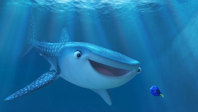 """Dory (voiced by Ellen DeGeneres) and Destiny (voiced by Kaitlin Olson of """"It's Always Sunny"""") in """"Finding Dory."""""""