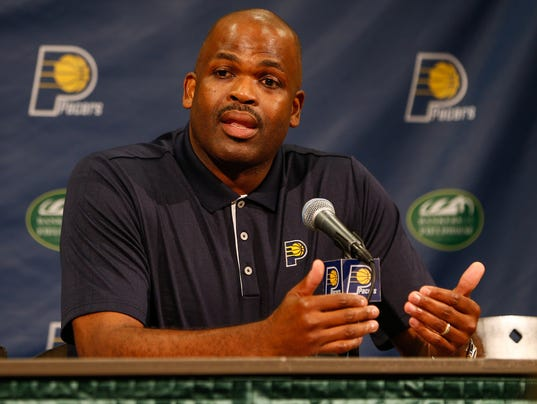 Indiana Pacers head coach Nate McMillan speaks to media during the ...