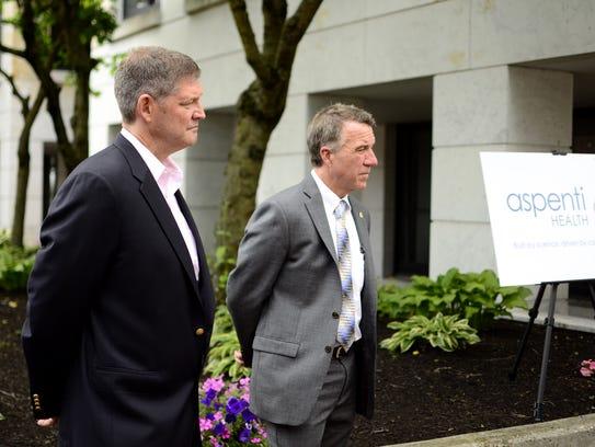 Chris Powell, CEO of Aspenti Health, and Gov. Phil