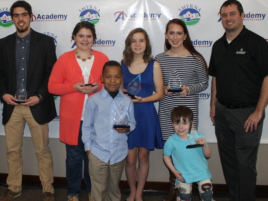 Youth Athletes of the Year included Cameron Reed with North Rutherford Soccer; Bailey Jenkins, Smyrna Fastpitch League; Cordell Spencer, Smyrna Youth Football League; Abby Reymann, Smyrna Junior Basketball League; Elizabeth Qualls, Smyrna Girls Softball League; and Russell Qualls, Smyrna Baseball League; and Academy Sports + Outdoors representative A.J. Anderson.