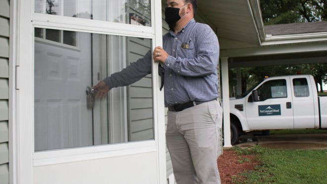 Balfour Beatty Communities Housing Manager Jason Bourcier regularly inspects homes for safety and damage concerns before families move in. He said he and his team inspect about seven homes every day.