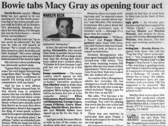 Marilyn Beck's Hollywood column featured David Bowie the day of his Poughkeepsie show in 2003.