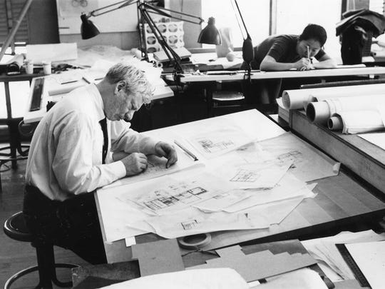 Louis Kahn working on the Fisher House design in  1961.