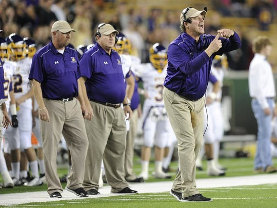 Wylie head coach Hugh Sandifer calls a play during the second quarter of the 2015 state semifinal at McLane Stadium in Waco.