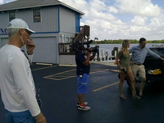 Filming at the Snook Inn.