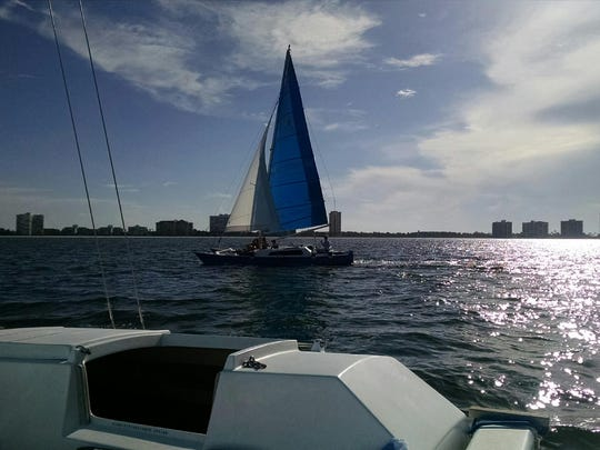 Sailing off Marco Island to film the show.