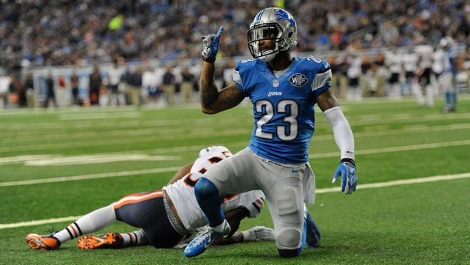 Detroit Lions cornerback Darius Slay signals after breaking up a play intended for Chicago Bears running back Jeremy Langford on Oct. 18, 2015, in Detroit.