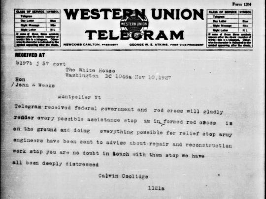 Telegram from President Coolidge to Vermont Gov. Weeks following the flood, Nov. 10, 1927.