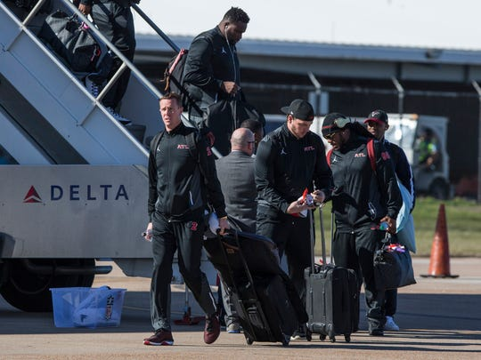Atlanta Falcons quarterback Matt Ryan (2) arrives with